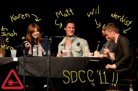 "The Nerdist: Matt Smith, Karen Gillan & Wil Wheaton Live at SDCC '11!!  Recorded live in front of 800 Nerds at San Diego Comic-con on 7/23, this awesometastic mashup of television space travelers yields some of our best podcast moments. Talk of leeches, Steven Moffat Muppets, Karen's love of Lt. Commander Data and how The Doctor and Wesley Crusher pilot their respective ships–namely the TARDIS and the Enterprise (1701-D, of course). THIS. EPISODE. RULES. SIDENOTE: Thanks to BBC America who sponsored the event by allowing the attendees to ""enjoy their burritos"" which Matt and Karen helped hand out in TARDIS sleeves. Genius! SIDESIDENOTE: There are some spoilers if you haven't seen this season of Doctor Who yet!  click through for the audio"