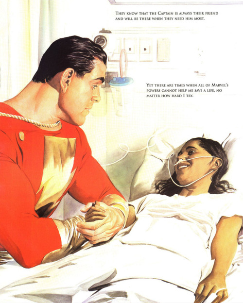 fumettidccomics:  thelastinterceptor:  I just can't get enough of Alex Ross' art. I finished reading Shazam! Power of Hope and it's amazing, is such a heart touching story. He and Paul Dini did a fantastic job in making superheroes more real. This actual scene did bring tears to my eyes.  .
