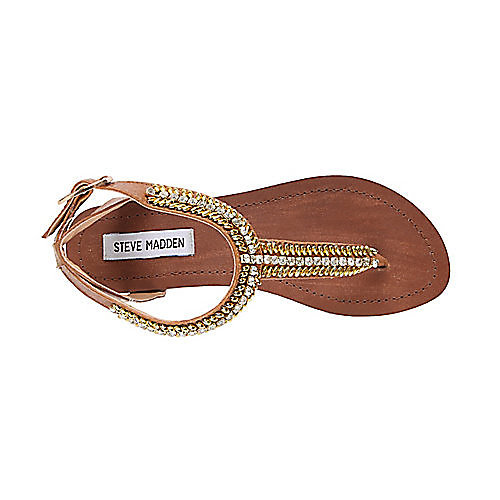 "most recent purchase: steve madden guesst sandal in cognac ""Rows of twinkling gems framed by gleaming bugle beads glam up a bare T-strap sandal fashioned from smooth, supple leather."""