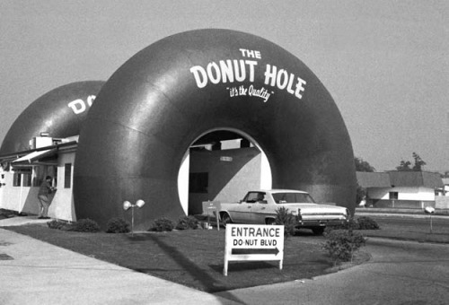 The Do Nut Hole drive through coffee shop in Los Angeles, CA - 1970