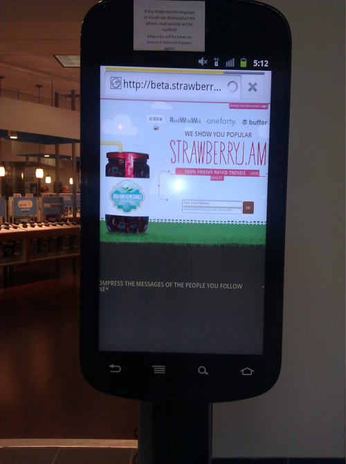Strawberryj.am running on an oversized android phone at Best Buy. #webejammin