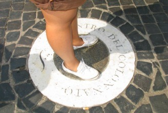 Piazza San Pietro, Vaticano. Not a manhole but floor art. This is the spot that you stand on and see just one layer of columns instead of four at the perimeter of the piazza. Engineering wonder. Salut to Bernini.