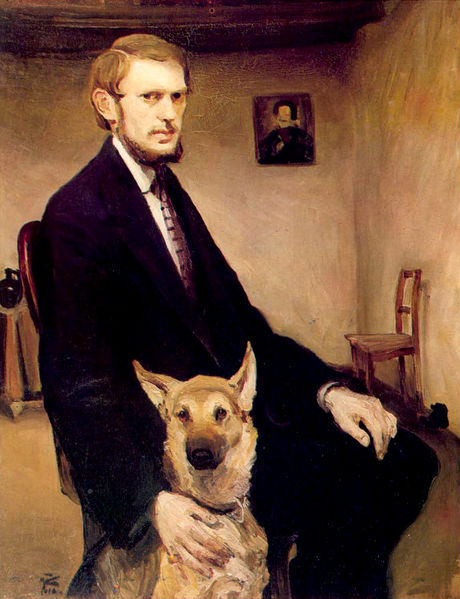 Self-Portrait with Dog 1910 Miroslav Kraljevic