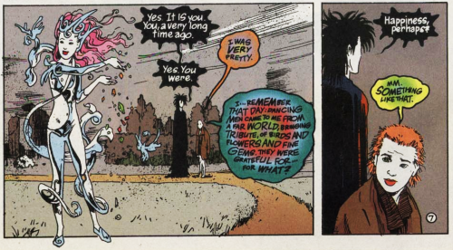 The Sandman comics: Dream and Delirium in Destiny's Garden, Delirium sees herself when she was Delight