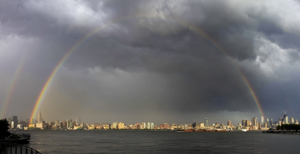Rainbow over Manhattan from Hoboken via David Sundberg