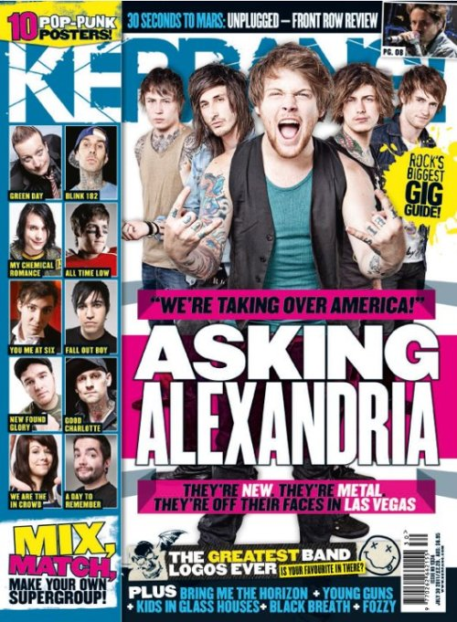 Check out this Wednesday's Kerrang! Asking Alexandria's first cover feature, from Warped in Las Vegas on sale weds morning from all good news outlets. Please support and grab your copies!!