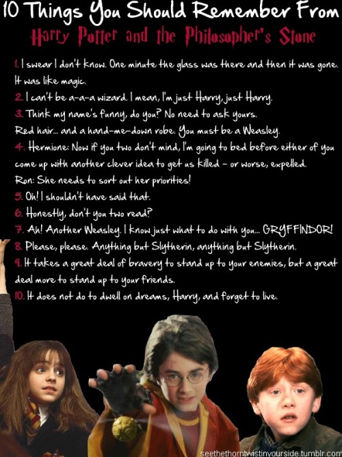 seethethorntwistinyourside:  10 things you should remember from harry potter and the philosopher's stone