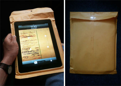 unconsumption:  Need an iPad cover? Here's an idea for a simple solution, from designer/artist Tobias Wong. (via Design Milk)