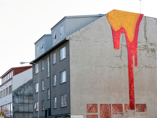 Why yes, those are sequins. Urban mural in Reykjavik by Theresa Himmer.