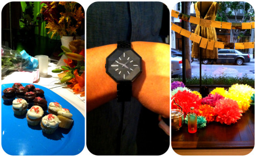 P&C cupcakes, Elliot's super cool Nixon watch, and colorful pom poms!