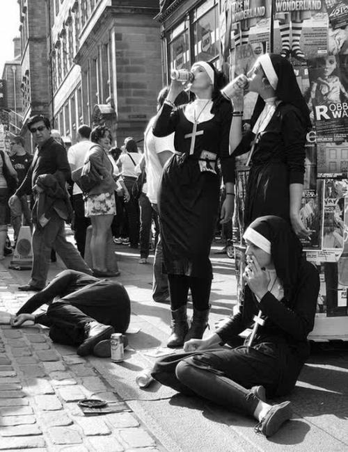 This would be so much better if they were actually nuns.