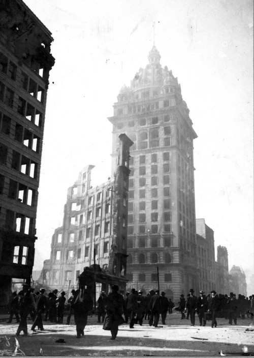 burnt-out hulk of the San Francisco call building, 1906