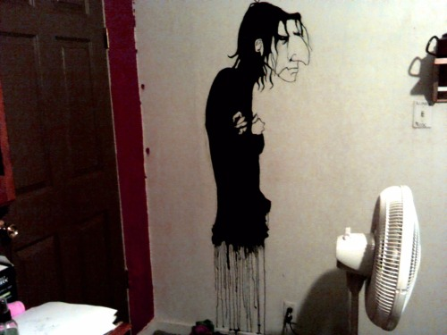 crystalline—green:  teenageghoul: so, here's the painting i did on my wall of Snape. i actually like it. not too bad for an hours work.  I can't tell me if this freaks me out more than those Edward McVampyface decals you put on your door so he can watch you sleep. I'm going to say: freaks me out more, but also infinitely cooler. Seriously though oh my god how can you not shrivel under that gaze HOW CAN YOU LIVE WITH HIM RIGHT THERE DISAPPROVING OF EVERY MOVE YOU MAKE.