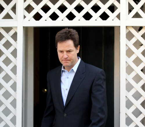 Nick Clegg walked through a door, and he instinctively held it open for a woman walking in his direction, but then he remembered that the door was the one to the men's toilets, so he had to pretend that he'd not been doing that at all.  http://twitter.com/#!/SadNickClegg
