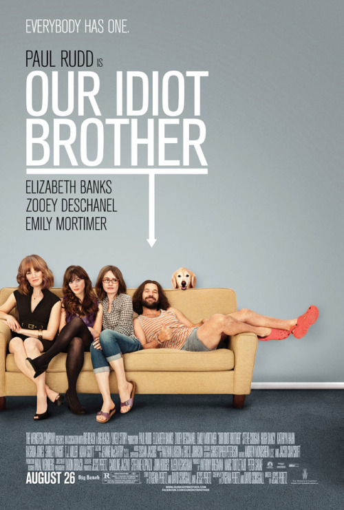 zooeydeschanel:  here is the official poster.  I saw this back in February at Coolidge Corner when it was still called My Idiot Brother and LOVED it. It was funny and sweet and subtle, not at all like other R-rated comedies that have come out this summer. Also, Zooey Deschanel is in it, and everyone knows you really can't go wrong with her.
