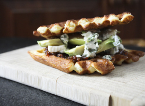 cafeyum:  Bacon Jam, Avocado and Gorgonzola Toasted Waffle Sandwiches  holy shit this is perfect