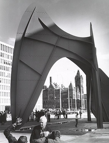 Beautiful. Alexander Calder, La Grande Vitesse & Grand Rapids' City Hall. Via mixedfeelings:   Never forget. This is what Grand Rapids' City Hall once looked liked. fygr:  Dedicated in June 1969, Alexander Calder's stabile sculpture La Grande Vitesse (by GrandRapidsPublicLibrary) You can see calder in this picture.