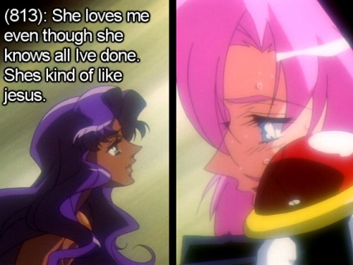 utena-tfln:  [Image - Splitscreen of a teary eyed Anthy looking up at Utena from her coffin. Utena is smiling gently down at her.] [Texts - (813): She loves me even though she knows all Ive done. Shes kind of like jesus.]  Aww