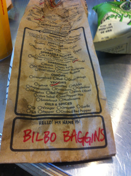 joshoohuhh:  I love doing this at which wich. I don?t think they like it as much. The guy didn?t seem too thrilled to say bilbo baggins while holding a sandwich in the air.
