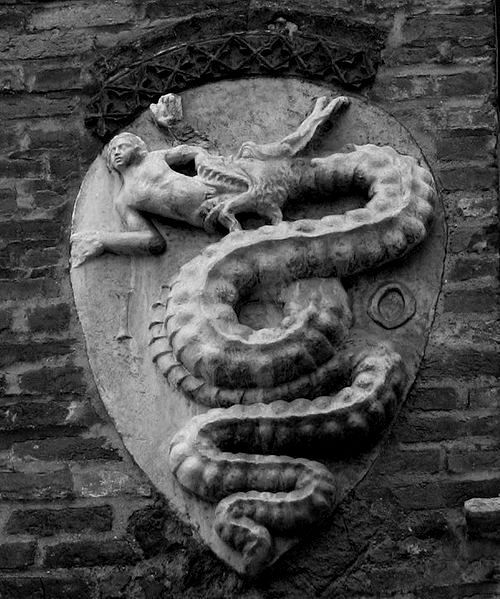 poisonwasthecure:  Coat of arms of the House of Visconti, Milan, Italy.  Has this been turned into a team crest? Someone should turn this into a team crest. I would root for any team with a mascot like this.