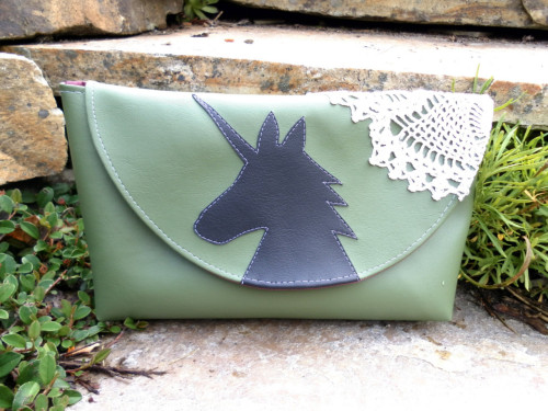 Unicorn and Doily Green Vinyl Clutch by kittyempire3 on Etsy