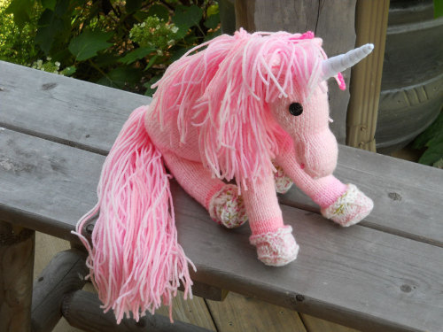 Pink Unicorn Hand Knit by RoseFeatherToys on Etsy