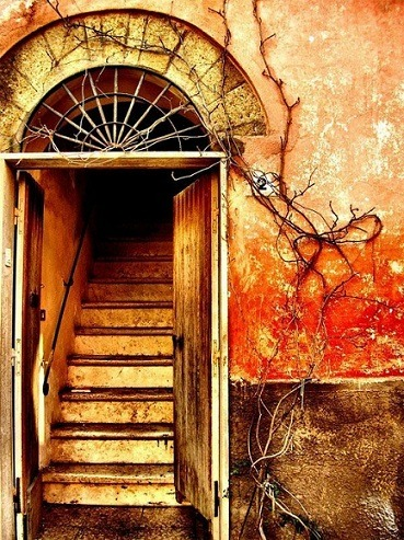 Old doors leading to stairway