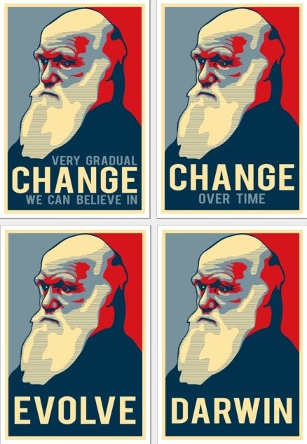 In honor of the 200th birthday of Charles Darwin, University of Illinois graduate student Mike Rosulek created a terrific series of Shepard Fairey Obama poster parodies. Mike is selling t-shirts & posters on Zazzle featuring the Darwin images and he's donating all the proceeds to the National Center for Science Education (NCSE). via popurls illustrations by Mike Rosulek  (via Charles Darwin: Very Gradual Change We Can Believe In)