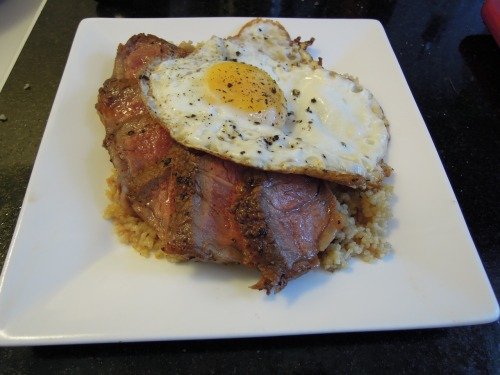 7.27 - Breakfast of champions (or cooks) Sliced ribeye and quinoa, fried egg