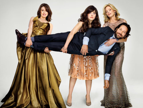 They don't look like idiots to us. Emily Mortimer, Zooey Deschanel, Paul Rudd, and Elizabeth Banks—the cast of Our Idiot Brother, co-written by V.F.'s Evgenia Peretz. (Watch the four cut up on video here). Photograph by Martin Schoeller.