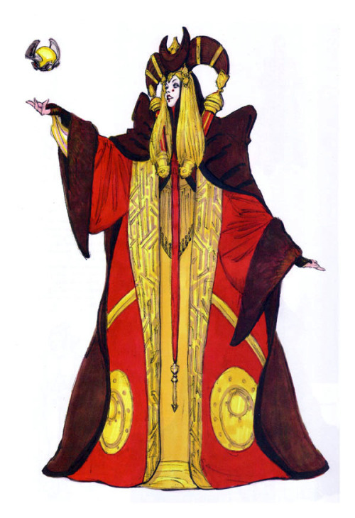 starwarsconcept:  Costume design for Padme's Senate dress in The Phantom Menace.
