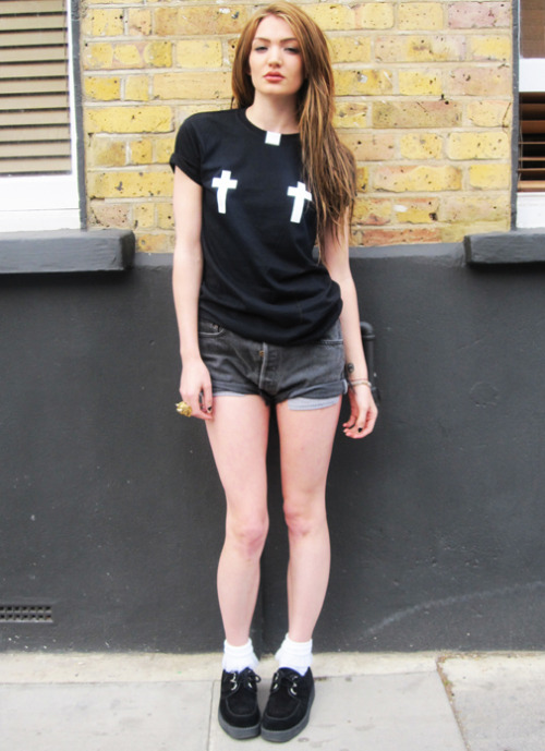 SMUT Crucifix nipple tee on sale better hurry while stocks last!  BUY here: http://www.smutclothing.co.uk/product/smut-crucifix-nipple-t-shirt Model Maille  Photo by Sascha SMUT