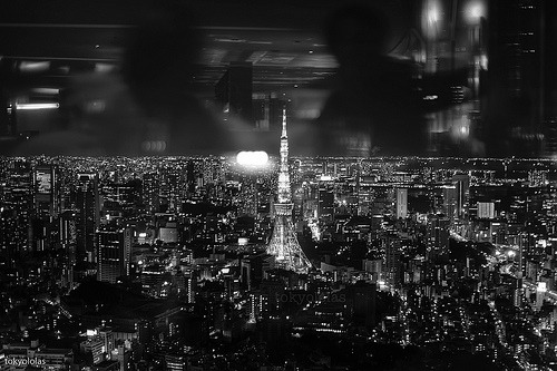black-and-white:  Tokyo: looming above this great dark city (by tokyololas)
