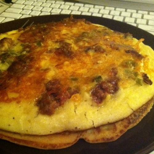 Chorizo and Green Chile Pancakes (Taken with instagram)