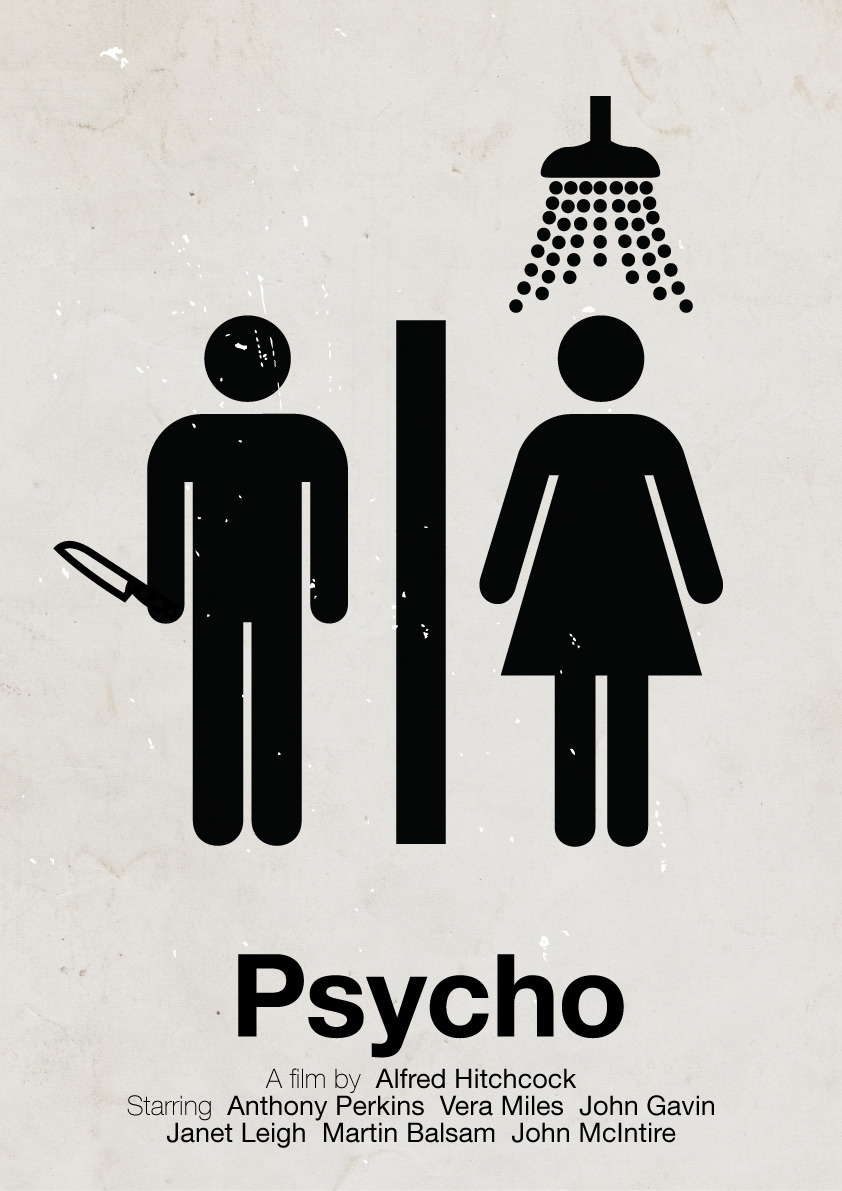 Poster of Hitchcock movie, Psycho  by Viktor Hertz  via freecocaine