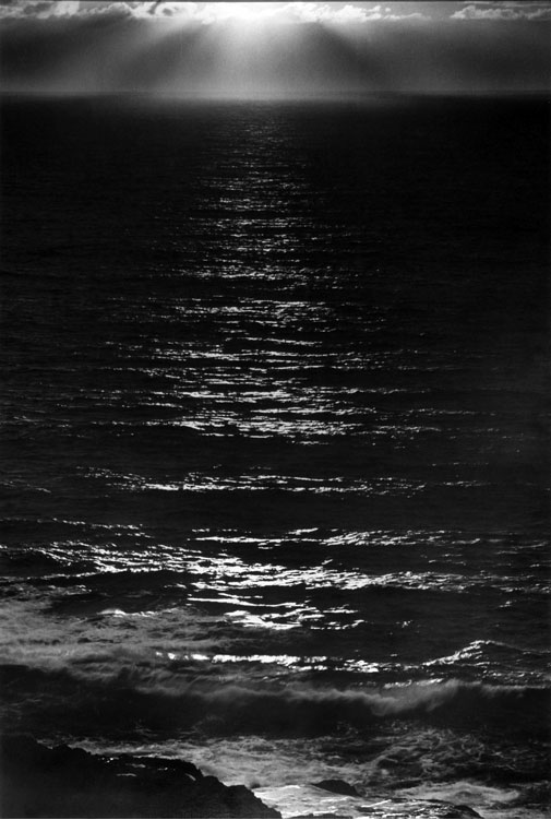 Ansel Adams, Sundown, The Pacific, ca. 1953. Thank you, firsttimeuser.