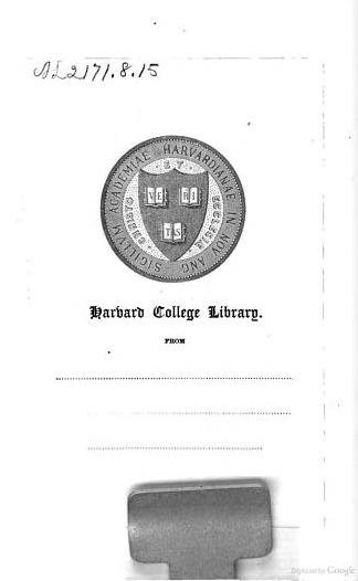 Harvard College Library donation bookplate left without a name. From front matter of Our Roll of Honor, or, Poems of the Revolution by Julia Clinton Jones (1894). [Here]