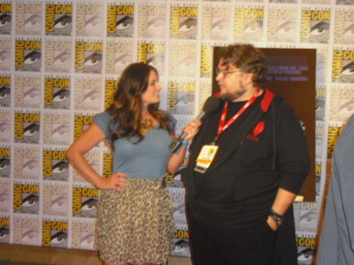 The Man Guillermo Del Toro at a TV press line being interviewed for 'Don't be afraid of the Dark'