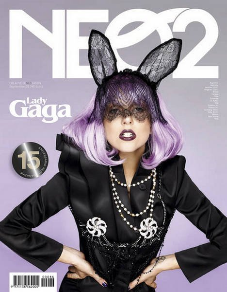 Lady Gaga purple wig, bunny ears