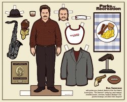 flannelanimal:  Doll #18Ron Swanson, Parks and Recreation As promised, a brand new Parks and Rec doll.  There were just too many great things to include, I had to leave a few for another time.