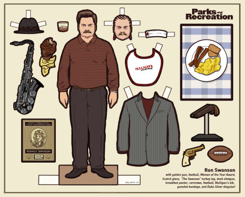 flannelanimal:  Doll #18Ron Swanson, Parks and Recreation As promised, a brand new Parks and Rec doll.  There were just too many great things to include, I had to leave a few for another time.     Amazing (and Hilarious) <3