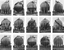 "theliltingwall:  Bernd and Hilla Becher, Spherical Gas Tanks, 1998 ""The Bechers are fascinated by the idiosyncratic appearance of each structure. The mass-produced, design-conscious assemblies devised by architects with an eye on appearance do not appeal as much as those with a mindfulness of function. What interests the Bechers are constructions made by engineers whose plans are pragmatic, where function dictates the form, rather than, as is increasingly the case, the other way round. In the words of Bernd: 'There is a form of architecture that consists in essence of apparatus, that has nothing to do with design, and nothing to do with architecture either. They are engineering constructions with their own aesthetic.'""  I'm reblogging this from a long time ago because I really love their photography and I like the idea of function dictating form. It's a type of aesthetic that isn't consciously planned to please or interest anyone. The function of the building or structure creates it's own look and I don't know why but that really fascinates me. These people have caught this on film in these wonderful collections. I've always loved taking photos of buildings so when I came across them and read what they were about I just wanted to go dancing in the streets."