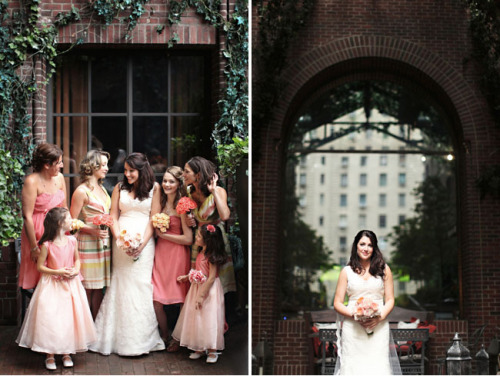 I love how it looks so cohesive even with half striped bridesmaids dresses and half solid.