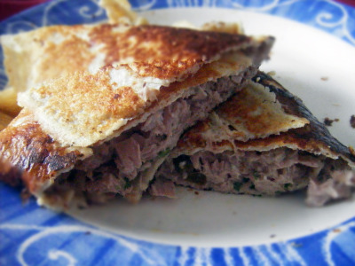 mydukandiet:  Galette Wrap with Tuna, Parsley and Capers Attack SuitableGluten free Do you miss bread? Want a lunch that is quick, easy and packs well? Try a galette wrap! Serves 1 Ingredients Galette oat bran, 1 1/2 - 2 tblsp (depending on where you are with Dukan) fat free fromage frais, 2 tblsp egg, 1 skimmed milk, splash lemon juice, yield from 1/4 small lemon Filling tinned tuna, 1 can fat free fromage frais, 1-2 heaped teaspoons capers, 1 tsp fresh parsley, small bunch, chopped lemon juice, yield from 1/4 small lemon Method Lightly beat together all the galette ingredients until well mixed. Cook in frying pan til brown, using 4-5 sprays of light spray oil if necessary.  In a bowl, mix together all the filling ingredients using as much  fromage frais as you wish depending on how moist you like your tuna. Season. Spread the filling out on the galette and roll up. Enjoy! Notes This is basically a tuna mayo sandwhich/wrap substitute! So quick and  easy and healthy! All the ingredients are store cupboard so if you are  getting cravings or hunger pangs and need something in a pinch then it  will save you. If you worry about cholesterol you can make the galette using egg whites instead of a whole egg.