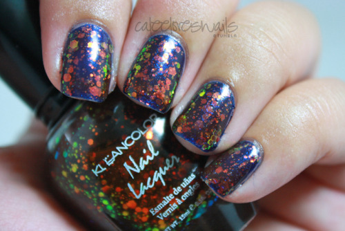 Kleancolor - Chunky Holo Black over OPI - Yoga-Ta Get This Blue