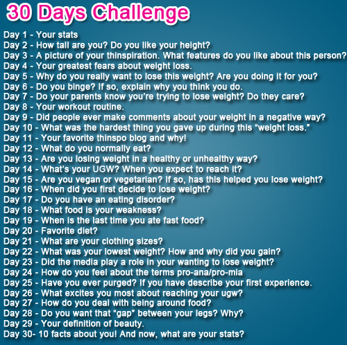 healthyisclassy:  30 Days Weight Loss Challenge. Since I don't have much to post, this will do :)