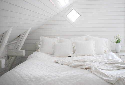 white attic bed
