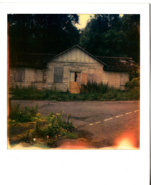 SX 70 folding polaroid camera - PX 70 impossible project film.  It's always tricky to get good results with this film as it has to be at the right temperature and in the dark etc when it develops. The viewfinder on my sx is not the most accurate and although when taking this photograph is appeared straight it is a little squint which annoys me but there you go.  Bangour village hospital