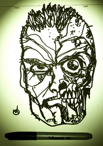 Zombie sketch of the day, because everybody loves zombies. Done with a fat Sharpie marker, in about ten minutes. Once I was done, I took a photo of the finished drawing with a Canon 450d, and spent three to five minutes playing with it in Photoshop. No pencils, just a marker. I was watching NY Ink and doing this at the same time.  (http://www.flickr.com/photos/oreb/ © Rad Recorder / Vuk Oreb)
