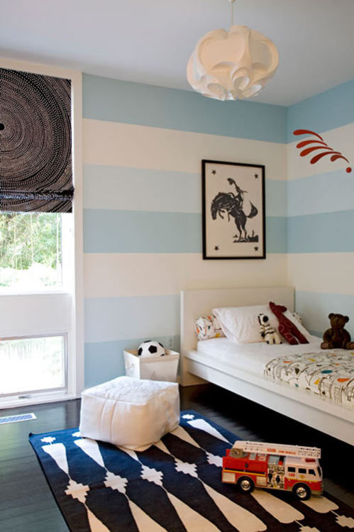 in love with the walls. apparently, these type of horizontal stripes make rooms look bigger. so adorable, it may be worth a try. (via best of decorative paint | Design*Sponge)
